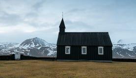 Black church of Budir, Iceland Stock Images