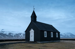 Black church of Budir, Iceland Royalty Free Stock Images