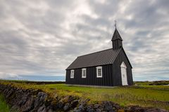 Black church of Budir at Snaefellsnes peninsula in Iceland. stock images