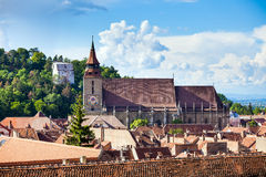The Black Church cathedral and The White Tower in Brasov medieva Stock Photography