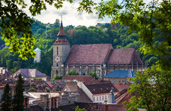 The Black Church cathedral and The White Tower in Brasov medieva Stock Photos