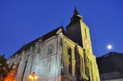 Black church at night, Transylvania, full moon Royalty Free Stock Images