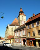 Black Church and typical urban landscape in Brasov, Transilvania Royalty Free Stock Photography