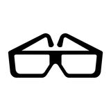 Black cinema glasses icon. Flat vector cartoon illustration. Objects isolated on a white background Royalty Free Stock Photos