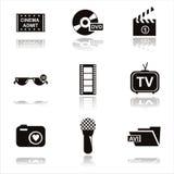Black cinema icons Stock Photos