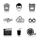 Black cinema icons Royalty Free Stock Images