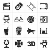 Black Cinema and Movie icons. Vector icon set Royalty Free Stock Photography