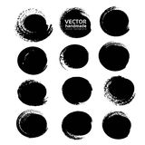Black circle abstract textured strokes Royalty Free Stock Images