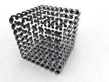 Black circle cube. Illustration of a cube made of black circle spaced stock images
