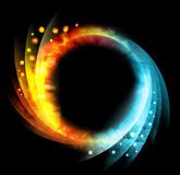 Black Circle Fire and Water Icon. A bright blue and yellow orb circle representing the elements of fire and water. There is a black background. Swirl patterns Royalty Free Stock Photography