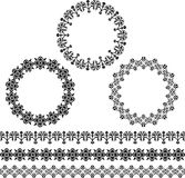 Black circle frames and border patterns Royalty Free Stock Images