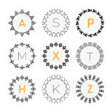 Black circle geometrical pattern labels set on white background Stock Photography
