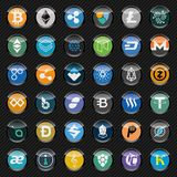 Black circle icons with cryptocurrency symbols. Icon set. Royalty Free Stock Photo