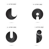 Black circle sign and Creative L,A,U and I-letter icon Stock Images