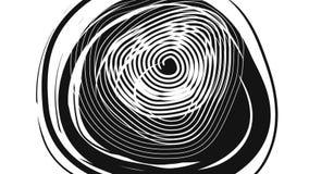 Black circle spiral turning on white background stock video footage
