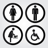 Black Circle Toilet Sign with Black Circle Border, Man Sign, Women Sign, Baby Changing Sign, Handicap Sign Royalty Free Stock Image