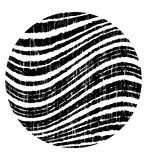 Black circle with wavy grunge stripes. Vector design element Stock Illustration
