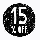 15% OFF Discount. Discount Offer Price Illustration. Hand Drawn Vector Discount Symbol. Black Circle. White Hand Written Text. White Background. Childish Style vector illustration