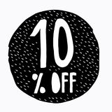 10% OFF Discount. Discount Offer Price Illustration. Hand Drawn Vector Discount Symbol. Black Circle. White Hand Written Text. White Background. Hand Drawn stock illustration
