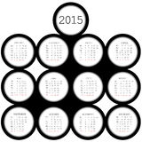 2015 black circles calendar for office Stock Photography
