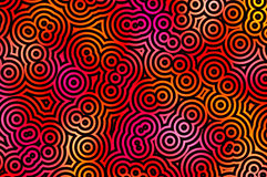 Black circles pattern. Black circles with a red/yellow background Royalty Free Stock Images