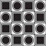 Black circles and squares in squares on a white background. Royalty Free Stock Image
