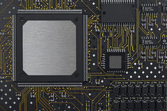 A black circuit board. With golden leders Royalty Free Stock Photo