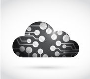 Black circuit board cloud illustration Royalty Free Stock Photos