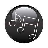 Black circular frame with musical notes. Illustration Stock Image