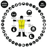 Black circular Health and Safety Icon collection Stock Photography