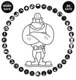 Black circular Health and Safety Icon collection Stock Photo