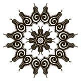 Black circular ornamental pattern, round abstract mosaic vector Royalty Free Stock Images