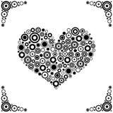 black cirklar hjärtavektorn Royaltyfri Fotografi