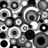 black cirklar psychedelic white Royaltyfri Foto