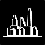 Black cities silhouette icon Stock Image