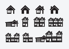 Black cities silhouette icon set Royalty Free Stock Photos