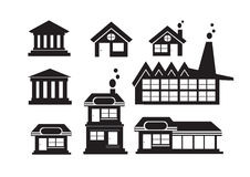 Black cities silhouette icon set Royalty Free Stock Photography