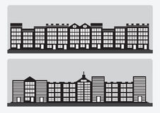 Black cities silhouette icon set Stock Image