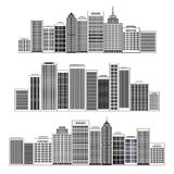 Black cities silhouette icon set. Vector illustration. Stock Photos