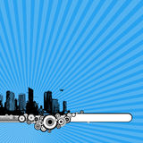 Black city on blue background. Vector Stock Image