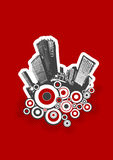 Black city with circles. On red background. Vector Stock Photography
