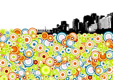 Black city with circles. Vector Stock Image