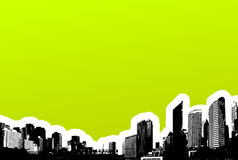 Black city on green background Royalty Free Stock Image