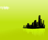 Black city on green background. Vector art Royalty Free Stock Photo