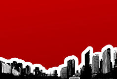 Black City On Red Background. Stock Images
