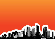 Black city on orange. Vector Stock Photography