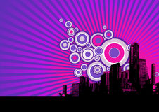 Black city on purple background. Royalty Free Stock Photos