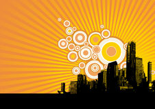 Black city on yellow background. Stock Images