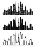 Black cityscape icons set Stock Photography