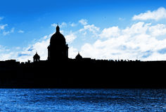 Black cityscape silhouette of St.Petersburg Stock Photos